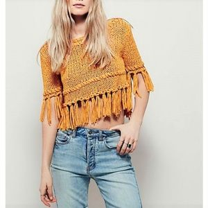 NWT Free People On The Fringe Cropped Sweater Top